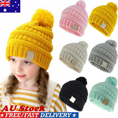 AU Cute Toddler Girls Boys Kids Baby Infant Winter Warm Pom Pom Knit Beanie Caps