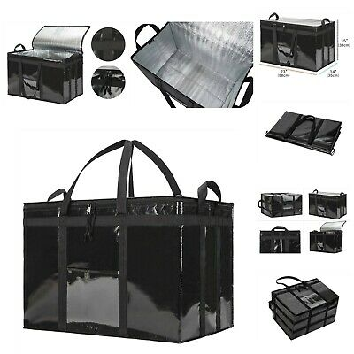 Insulated Food Delivery Bag Dual Zipper Foldable Glossy Finish XXXL Black 1 Pack