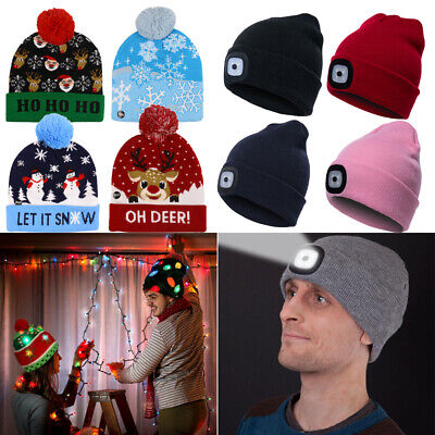 Mens Womens Kids LED Beanie Hat Christmas Knitted Hat Xmas Party Decor Warm Gift