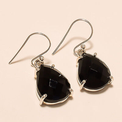 5.90 Gm Stone 925 Solid Sterling Silver Earring Natural Black Onyx Earring K1025