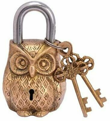 Owl Shaped Brass Lock Antique Brass Padlock Metal Safety Lock With 2 Key