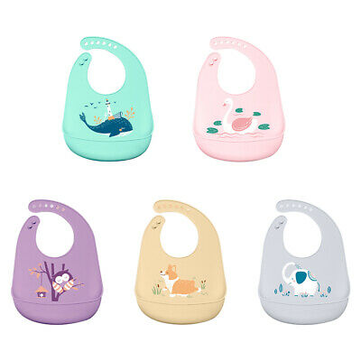 Waterproof Baby Silicone Bibs Feeding Bib Kids Roll up Food Catcher Pocket Gift