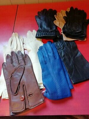 Job Lot Of 8 Pairs Vintage Leather Gloves Assorted Styles Colour And Size