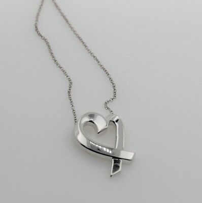 Tiffany & Co. Paloma Picasso Sterling Silver Heart Ribbon Necklace