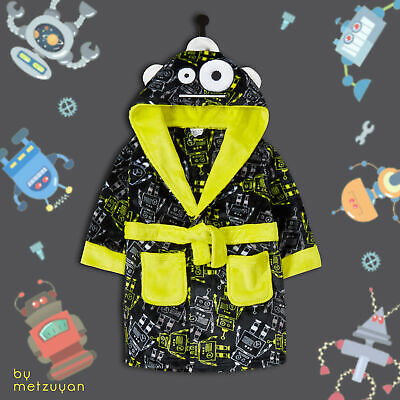 Kids Boys Dressing Gown Hooded 3D Robot Age 2 3 4 5 6 Years Novelty Bathrobe NEW