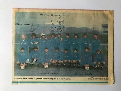 5 Autografi originali NAZIONALE ITALIANA U21 85/86-de Napoli/Carobbi+3-IN PERSON