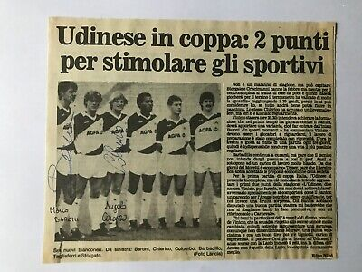 2 Autografi originali UDINESE CALCIO 85/86-Marco Baroni+Angelo Colombo-IN PERSON