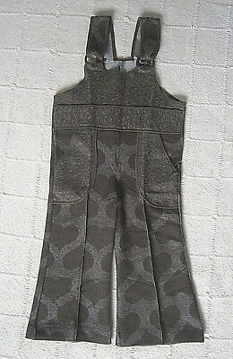 Vintage Stretch Dungarees - Age 2 Years - Brown Hearts Design - Danish - New