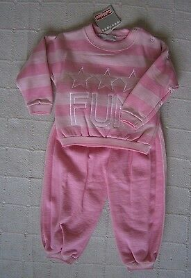 Vintage Baby Track Suit - Age  2 Years - Pink Stripe - Made in France -New
