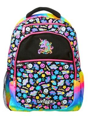 "New! Smiggle ""Express"" Large Access Backpack School Bag, 🦄 Unicorn & Rainbow🌈"