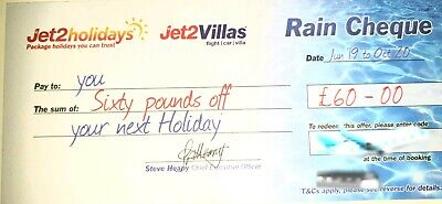 20 X Jet2Holidays £60Rain Cheque voucher  EXPIRE DECEMBER 2019
