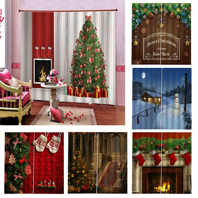 Christmas Curtain Drapes 2 Panel/set for Bedroom Living Room Total 150x166cm