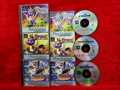 PS1 SPYRO 1, 2 Gateway To Glimmer, 3 Year of The Dragon PLAT Game Collection PAL