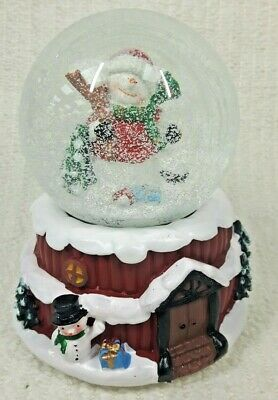 Happy Snowman Musical Battery Snow Globe Traditional Christmas Decoration #NG