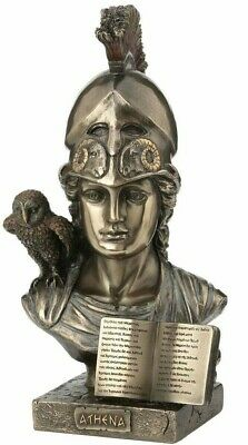 Athena Minerva Bust Statue with Owl Greek Roman Goddess Bronze Sculpture 8.46""