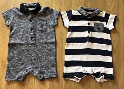 Next Baby 2 X Boys All In One Suits Navy Blue And Stripes