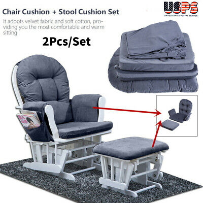 5 Pcs Glider Cushion Set for Baby Nursery Rocker Chair Velvet Removable Grey