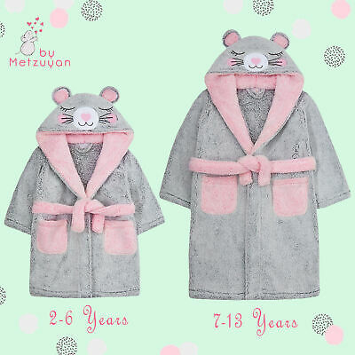 Girls Dressing Gown Novelty Mouse Kids Hooded Robe Fluffy Thick Snuggle Fleece