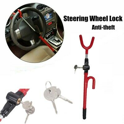 Car Van Steering Wheel Lock Extendable Double Hook Universal with 2 keys