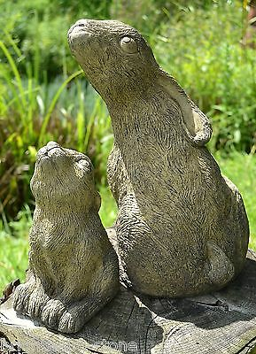 Mother and Baby Moon Gazing Hare garden ornaments celtic frost proof stone