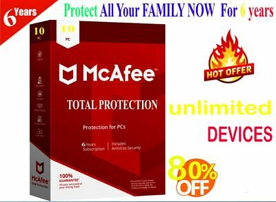 McAfee Total Protection 2020 : 10 Devices 6 Year KEY - Instant eBay Message