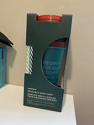 Starbucks 2019 Holiday Reusable Venti Tumbler Cold Cup Set Of 5