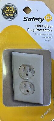 Brand New Safety 1 ST Clear Plastic Outlet Protector 12 Pack Easy To Use