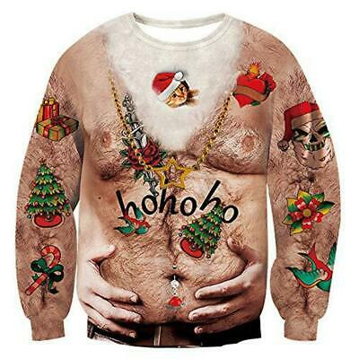 Unisex Ugly Christmas Sweatshirt Sweater Funny Pullover Xmas Holiday Party Gift