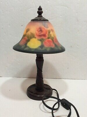 Pair Of Vintage Reverse Painted Roses Lamp Shades Signed S