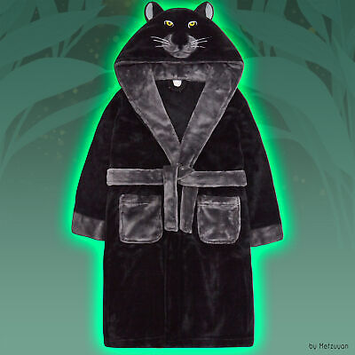 Child Kids Boys Novelty Dressing Gown Black Panther Animal 3D Hooded Bathrobe