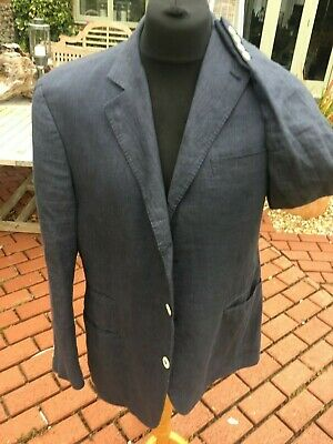 Brunello Cucinelli  linen / silk blue mens jacket / blazer 44 / L immaculate