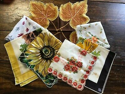 Lot of 6 Vintage Handkerchiefs Hankies Flowered Floral Scalloped Fall Colors