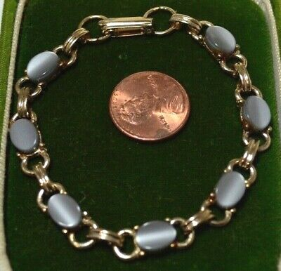 """Vtg Scarab Style Moonglow Lucite Silver Grey  Cab Gold tone 7"""" Bracelet 7N 39"""