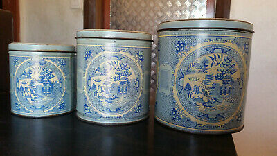 3x set of rare vintage willow cannisters blue & white pattern made in australia