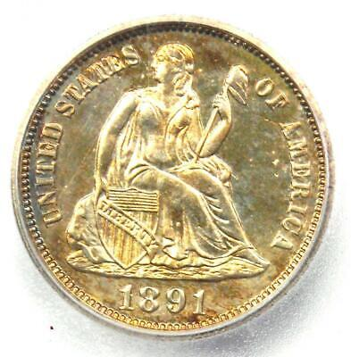 1891 PROOF Seated Liberty Dime 10C Coin - Certified ICG PR60 Details (PF60)!