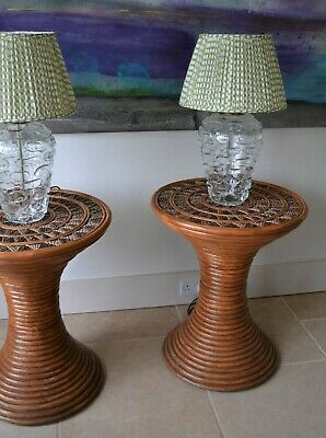 A Pair of Stylish Mid Century Bamboo Rattan Coffee Hall Bed Side Lamp Tables 2