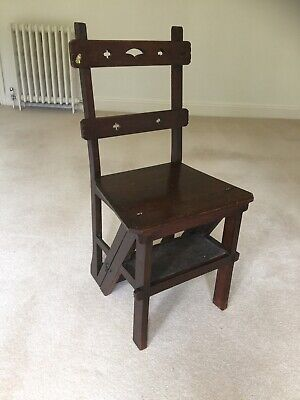 Antique Wooden Metamorphic Arts & Crafts Library Steps / Chair / Victorian