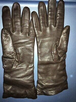 Bloomingdale's Ladies Leather gloves,brown,size 7.5,cashimere lined,very soft