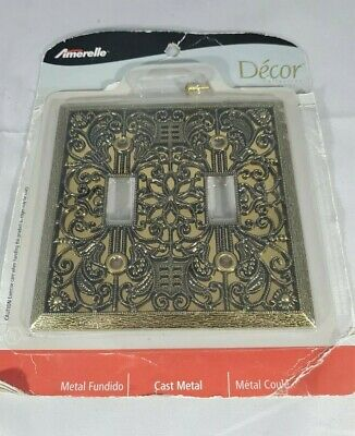 Vintage Style Metal Filigree Double Light Switch Covers Plates Gold Brass Flower