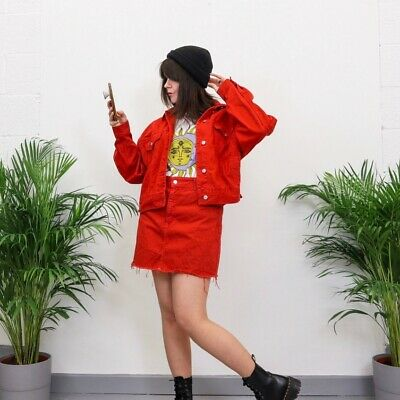 Topshop Red Denim Jacket Skirt Suit Co-Ord Outfit Set 12/14