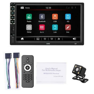 "7"" 2 DIN Car Stereo Radio HD MP5 Player Touch Screen Bluetooth + Rearview Camera"