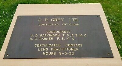 Large Brass And Enamel Doctor Consulting Optician Sign