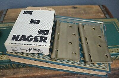 """Vtg Set of 2 Hager 1741 Dull Brass 4"""" Square Yale Door Hinge Exterior Pin NOS"""