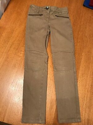 Next Girls Beige Skinny Trousers with Adjustable Waist Age 8