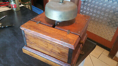 rare vintage large railway bell in mahogany case