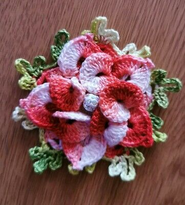 1 ps  Handmade Crochet decorative flowers 10 cm sewing applique multicolour