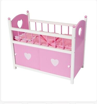 Dolls Wooden Cot Cradle With Sliding Doors Storage Cupboards pink & white Age 3+