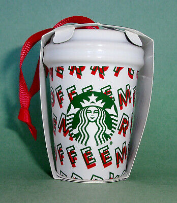 Starbucks Ornament Christmas Holiday Merry Coffee Ceramic To Go Cup 2019 New