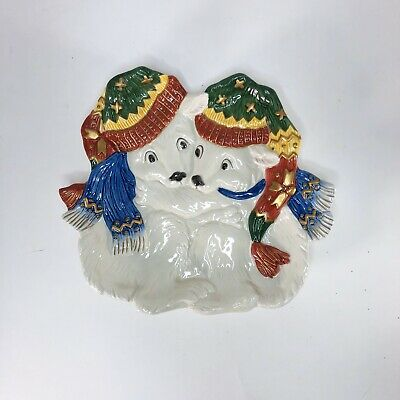 Fitz and Floyd  Polar Bear Christmas Canape Plate Cookie Dish Holiday Serving