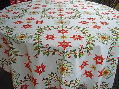 "Peace Birds & Flowers White Red & Green Tablecloth ~ 52"" x 70"" ~"